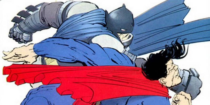 Batman Punching Superman in DARK KNIGHT RETURNS