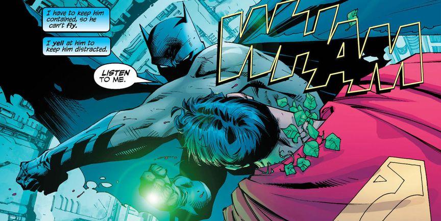 Batman Punching Superman with Kryptonite ring