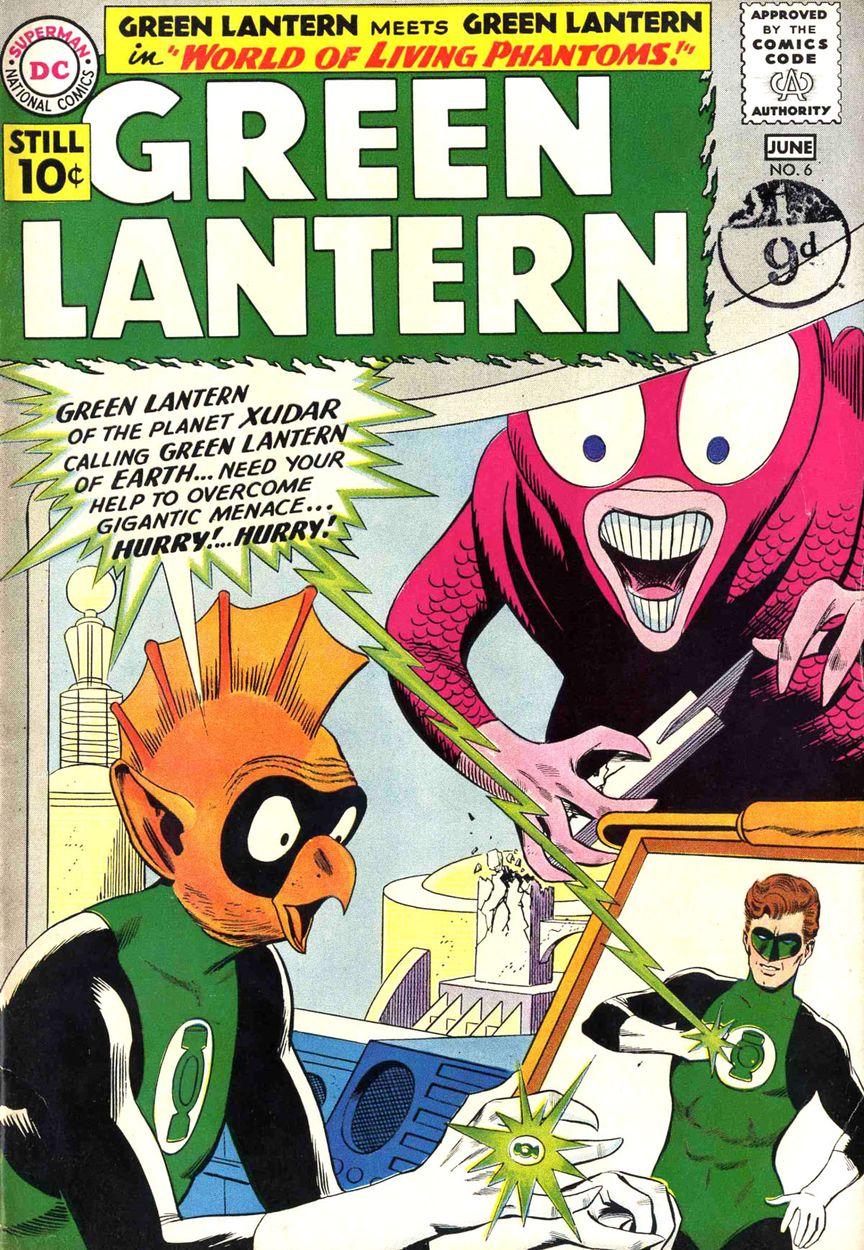 Capa de Green Lantern #6, mostrando o surgimento de Tomar-Re, que poderia ter salvado Krypton. Arte de Gil Kane e Joe Giella.