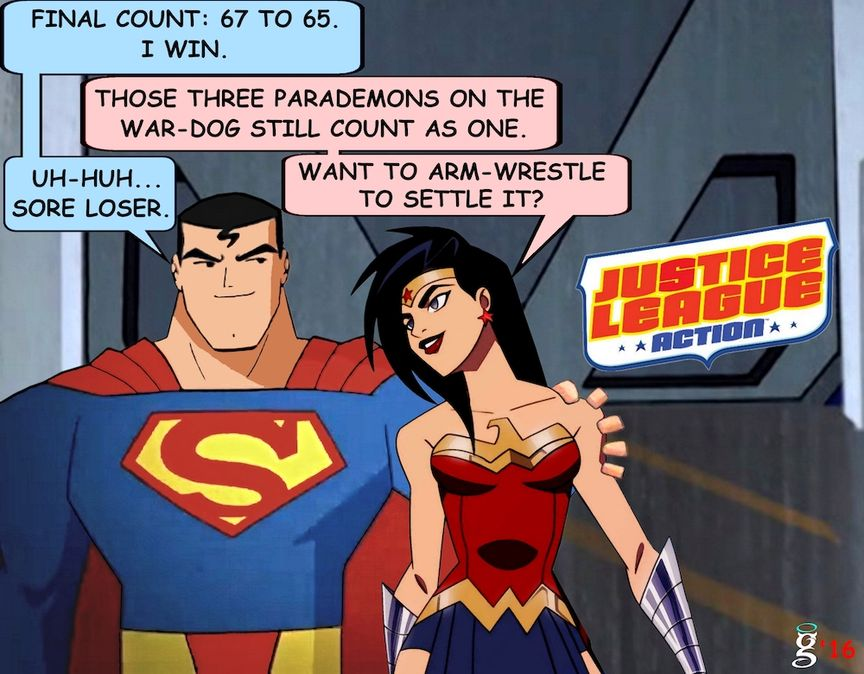 Superman: Final count, 67 to 65. I win. Wonder Woman: Those three parademons on the warw-dog still count as well. Superman: Uh-huh sore loser. Wonder woman: want to arm-wrestle to settle this?