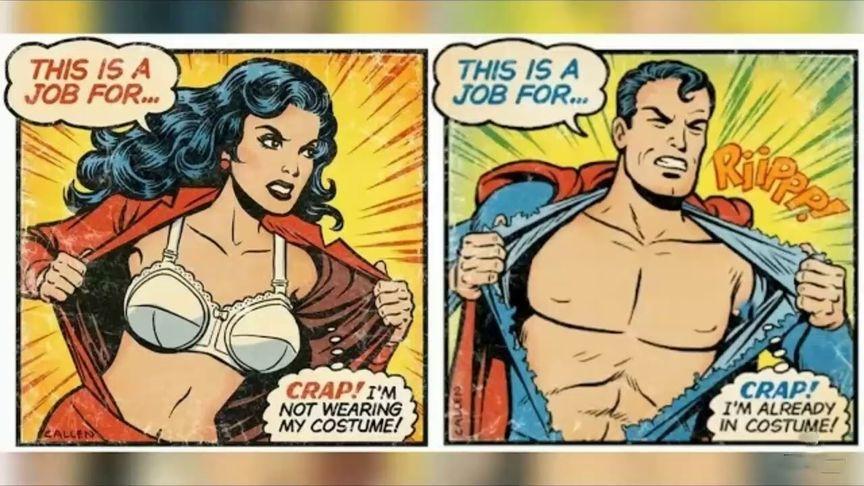 Superman vs Wonder Woman removing costume.