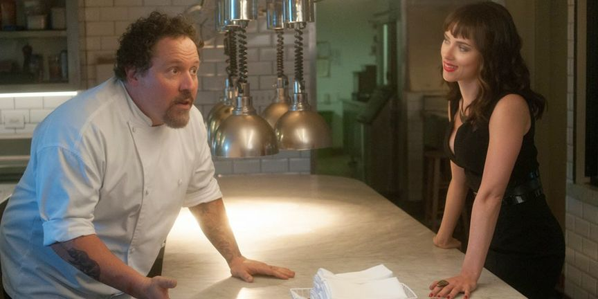 Jon Favreau and Scarlet Johansson in the movie chef