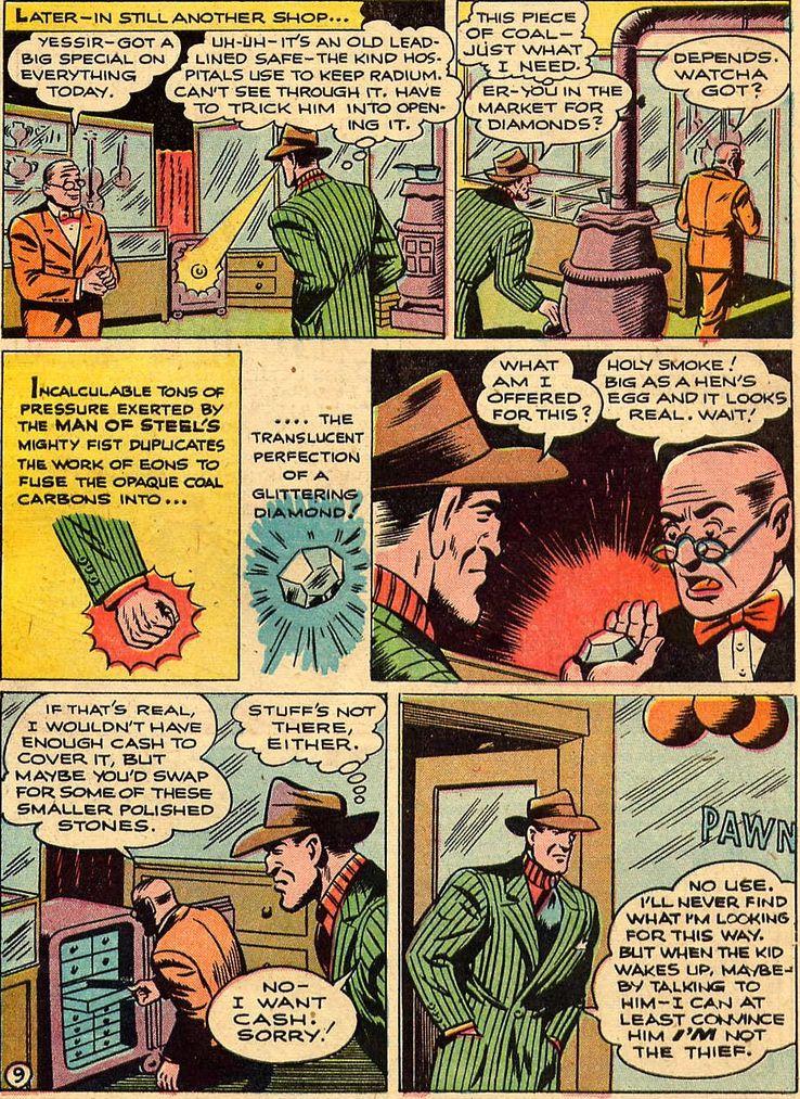 action comics 115 - La primera vez que Superman convirtió carbón en diamante