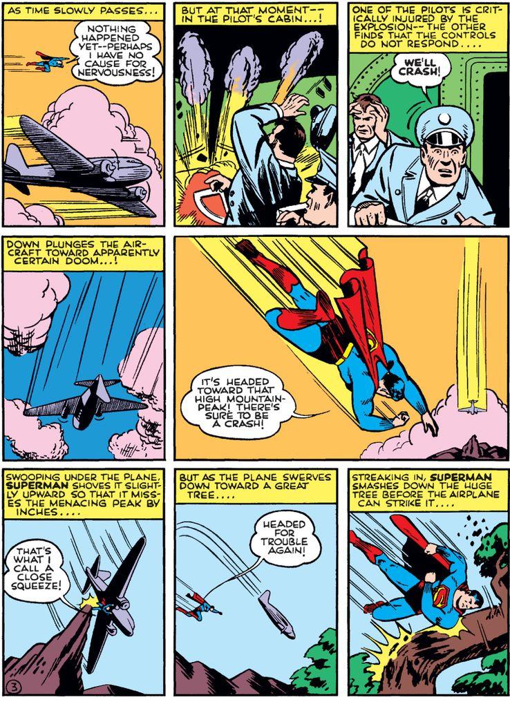 action comics 43 2 - La primera vez que Superman salvó un avión en los cómics