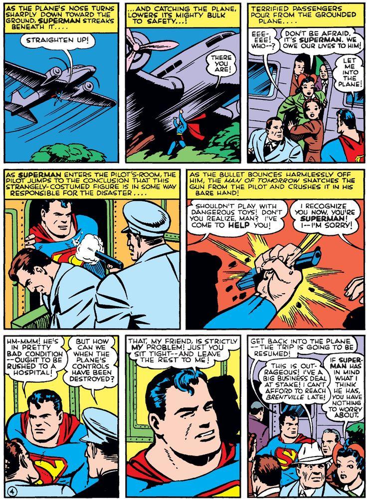 action comics 43 3 - La primera vez que Superman salvó un avión en los cómics