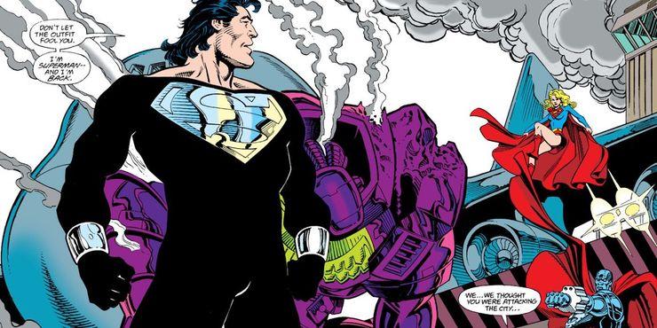 Superman 90s Mullet Black Suit Steel Supergirl Dan Jurgens - El infame corte de pelo de Superman