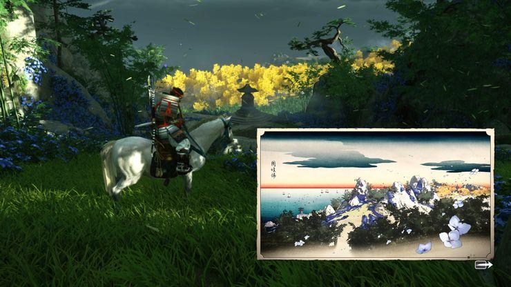 personaje a caballo en el bosque