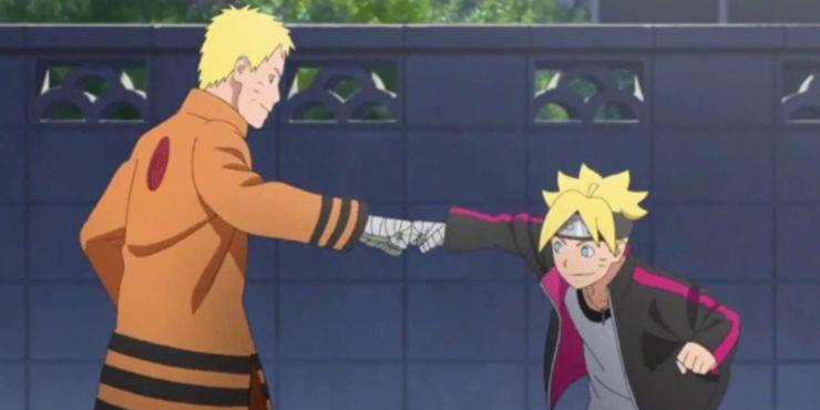 Boruto and Naruto fist bumping