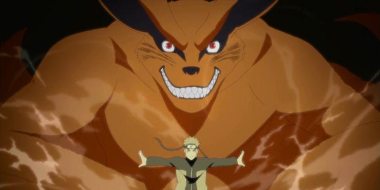Naruto in front of Kurama