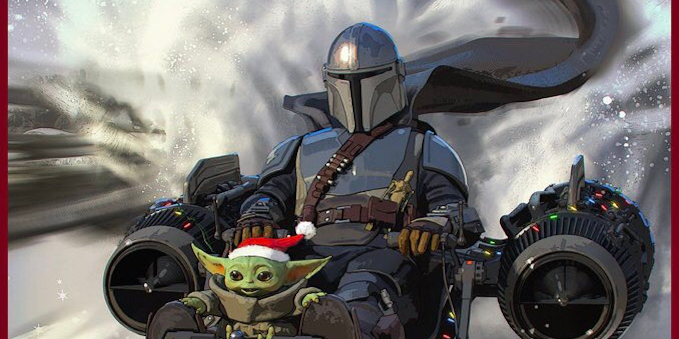 The Mandalorian and Baby Yoda Decorate Lucasfilm's Holiday Card
