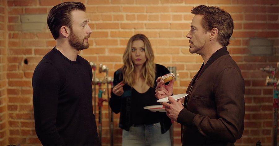 """Civil War's"" Evans, Downey Jr. Wage Doughnut War In Tense Video"